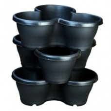 """17"""" Stack Planter, Flower Tower With Plate ( Black )"""