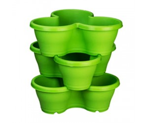 """17"""" Stack Planter, Flower Tower With Plate ( Green )"""