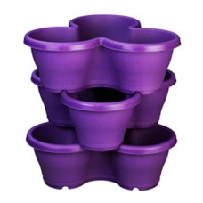 """17"""" Stack Planter, Flower Tower With Plate ( Purple )"""