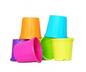 "8"" XL Grower Plastic Pot ( Mix Color ) - Pack of Six"