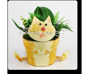 "5"" Small Cat Planter"