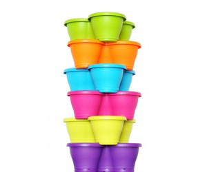 "17"" Stack Planter, Flower Tower With Plate ( Mix Color )"