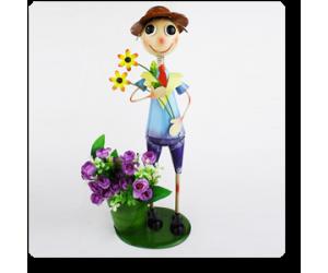"5"" Tall Boy Holding Flowers planter"